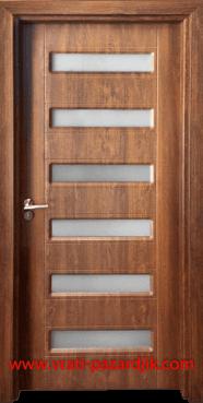 Стъклена интериорна врата Гама 207, цвят Златен дъб