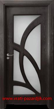 Стъклена интериорна врата Гама 208, цвят Венге